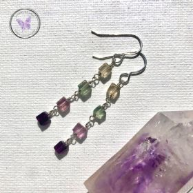 Fluorite Cube Dangle Earrings